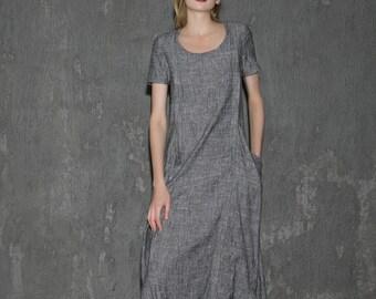 Elegant Short sleeve Gray Long Linen Dress C647
