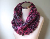 Pink Infinity Scarf .. Valentines Day Scarf .. Gray Cowl .. Black Scarf .. Pink Scarf .. OOAK Cowl Scarf .. Crochet Scarves .. One of a Kind