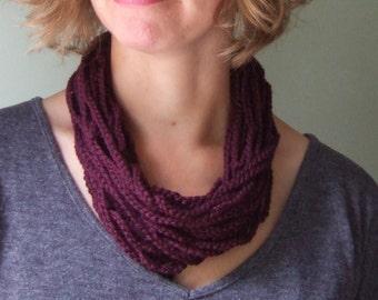 Cashmere Scarf Necklace / Crochet Chain Scarf / Merino Scarf