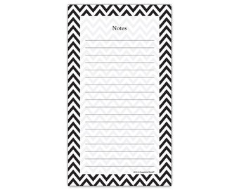 Chevron Black and White Stripes Magnetic Grocery List Notepad 4.25 x 7.50 by Guajolote Prints