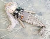 Little Mermaid Girl Doll/ Mermaid Tail / OOAK Mermaid Doll/ Girl Doll/ Silver Doll/ Whimsical Mermaid Doll/ Amigurumi Toy