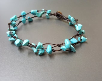 Double Chip Turquoise   Anklet