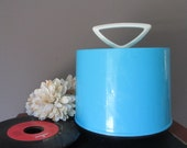 Vintage Disk GO Case Bright Aqua Blue 1960's Record Case for 45 rpm Plastic Holder Tote Bright Color