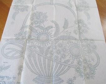 Vintage Alice Brooks  1930's  Embroidery  Pattern  5427 Uncut Basket Floral Bedroom Linens Bedspread  Flower Ribbons  Original Pattern