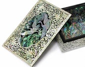 Lacquer ware inlaid mother of pearl handcrafted business card case,business card box holder trinket box