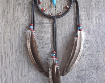Dream Catcher Dark Chocolate Brown Deerskin Leather with Rooster Feathers
