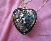 Music Box Locket Abalone/Paua with Silver Rose and Silver Necklace- Choose your song