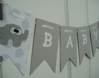 Gender Neutral Baby Shower Banner, Paper and Felt Garland, Felt Elephant Bunting, Felt Elephant Banner, Gray, White