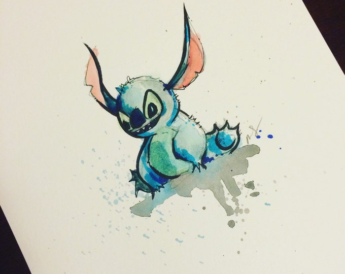 ORIGINAL PAINTING Stich from Lilo and Stitch, Disney inspired, 8x10 in watercolor drawing