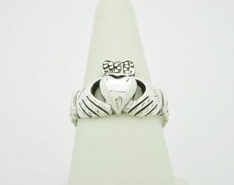 Got Irish? Solid Sterling SILVER CLADDAGH Engagement Wedding Ring Size 8 IRELAND