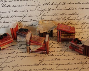 Dollhouse miniature assorted and random stack of red books