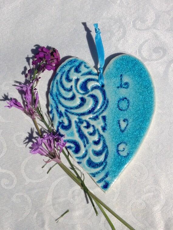 Love Heart Tile                            Heart Home Decor, Love Heart Tile, Turquoise Heart, Love Home Decor, Love Heart, Tile Heart