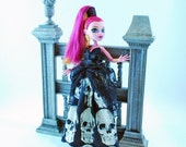 Handmade Monster doll three piece couture gown, with over the top fabric and lace to die for details