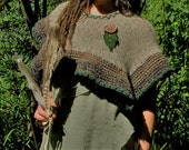 EarthMama~Shawl, Shrug~Upcycled Handmade knit and crocheted...Earthtones~Manzanita Button, Felt Leaf