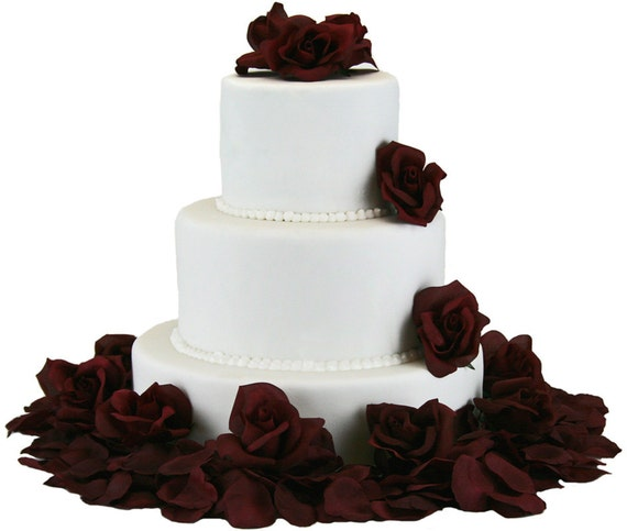 wedding cake silk flowers decorations burgundy silk cake flowers wedding reception decoration 24546