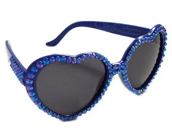 SAPPHIRE Rhinestone Heart Sunglasses. Sparkly Royal Blue Heart Shaped Glasses. Kawaii Lolita Sunglasses. Rockabilly Eyewear. Festival Style