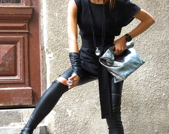 NEW COLLECTION AW-2015/16  Black Extra Long Leggings / Eco Leather  with zippers  by Aakasha A05307