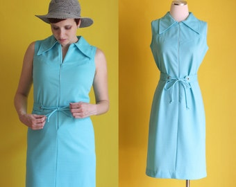 Vintage 60s Mod Mini Dress - Light Blue Zip Front Dress - Belted Ribbed Shift Dress - Short Sleeveless GoGo Twiggy Dress - Size Small