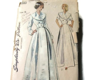 """Simplicty 25 Cent Pattern Double Breasted Bodice """"Housecoat"""", 1948"""