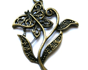 4 Darling Antique Bronze FiIigree Butterfly Flower Charm/Pendant