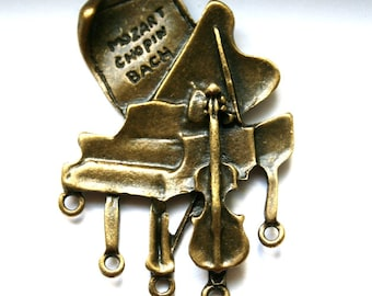 2 Antique Bronze Piano-Viola-Mozart-Chopin-Bach- Music 1 to 5 Connector/Link