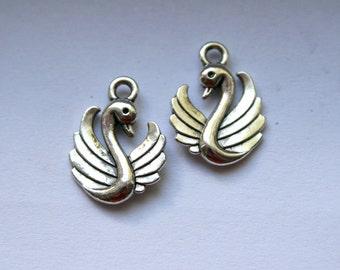 8 Antique Silver Elegant Swan Charms/Pendants S-030