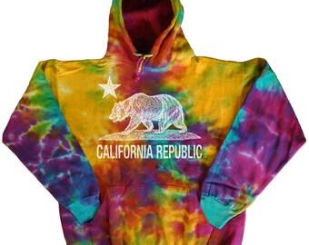 Tie Dye sweatshirt California Bear hoodie