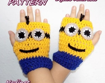 Minions Mittens, Gloves, Crochet Pattern, Hand Warmers, Winter Accessories PATTERN PDF