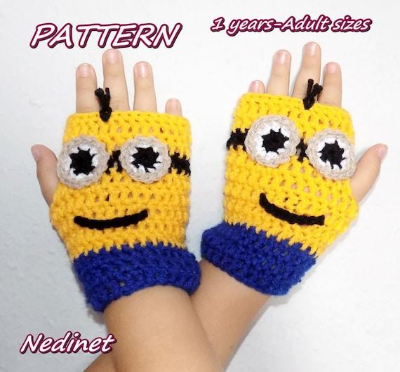 Free Crochet Pattern Minion Mitts : Minions Mittens Gloves Crochet Pattern Hand Warmers Winter