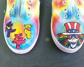 Grateful Dead Tie Dyed  Hand Painted Canvas Shoes Order your own size custom Uncle Sam and 3 dancing bears