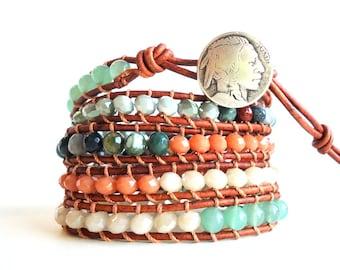 Leather Wrap Bracelet, 5 wrap bracelet, Indian head bracelet, sage green bracelet, forest green bracelet, boho leather bracelet, green agate