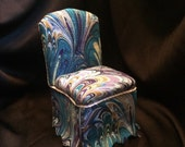 Shabby Chic Parsons Chair in Blues and Purples - Dollhouse Miniature