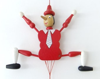 Vintage Handmade Wooden Red Pinocchio Puppet / Wall Hanging