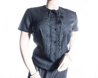 Elegant XL Plus size 60's vintage classic sheer black Tricel nylon and delicate matching lace front panel detail short sleeve blouse - DB196