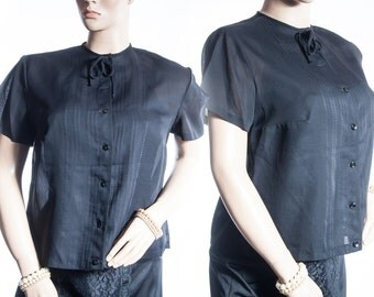 Lovely XL Plus size 60's vintage sheer classic black Tricel nylon and decorative front panel detail short sleeve blouse chemisier - DB199