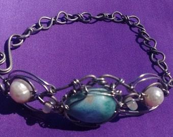 Handmade larimar pearl opal bracelet wrapped larimar jewelry moonstone larimar pearl wire wrap bracelet pearl jewelry larimar pearl opal