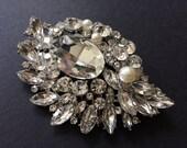 Love wedding bridal Swarovski  rhinestone crystals and pearls dress brooch pin