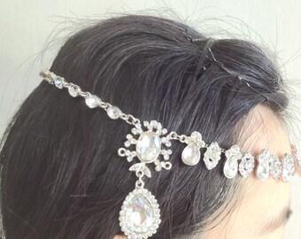 Forehead bridal headband, forehead wedding headband, forehead accessory, rhinestone crown, crystal headpiece