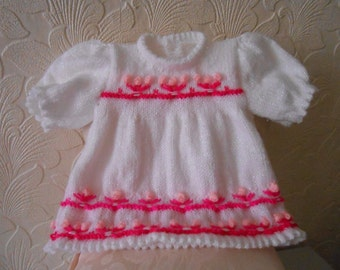 Baby Girls Hand Knitted Flower Dress,16-18inch,Unique