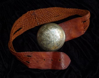 Vtg 60's 70's Moroccan Boho Distressed Wide Woven Huge etched silver buckle Genuine Leather Belt