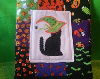 Quilted Witchey Cat Halloween Tote or Treat Bag