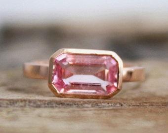 Emerald Cut Pink Sapphire Bezel Diamond Ring in 14K Rose Gold