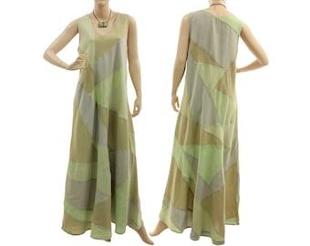 Boho maxi patchwork summer dress for tall women, linen tank dress in pastel green, lagenlook dress small to medium size S-M, US size 8-12