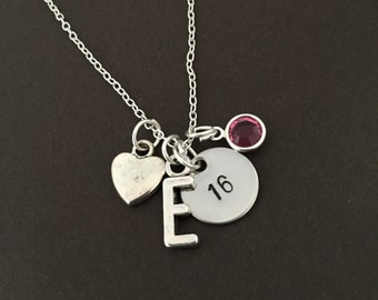 sweet 16th Birthday Gift, 16th Birthday Necklace, Heart necklace, Birthday , anniversary necklace birthstone necklace