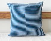 Indigo Pillow cover with Block Print Stripes, BlueStripes throw Pillow