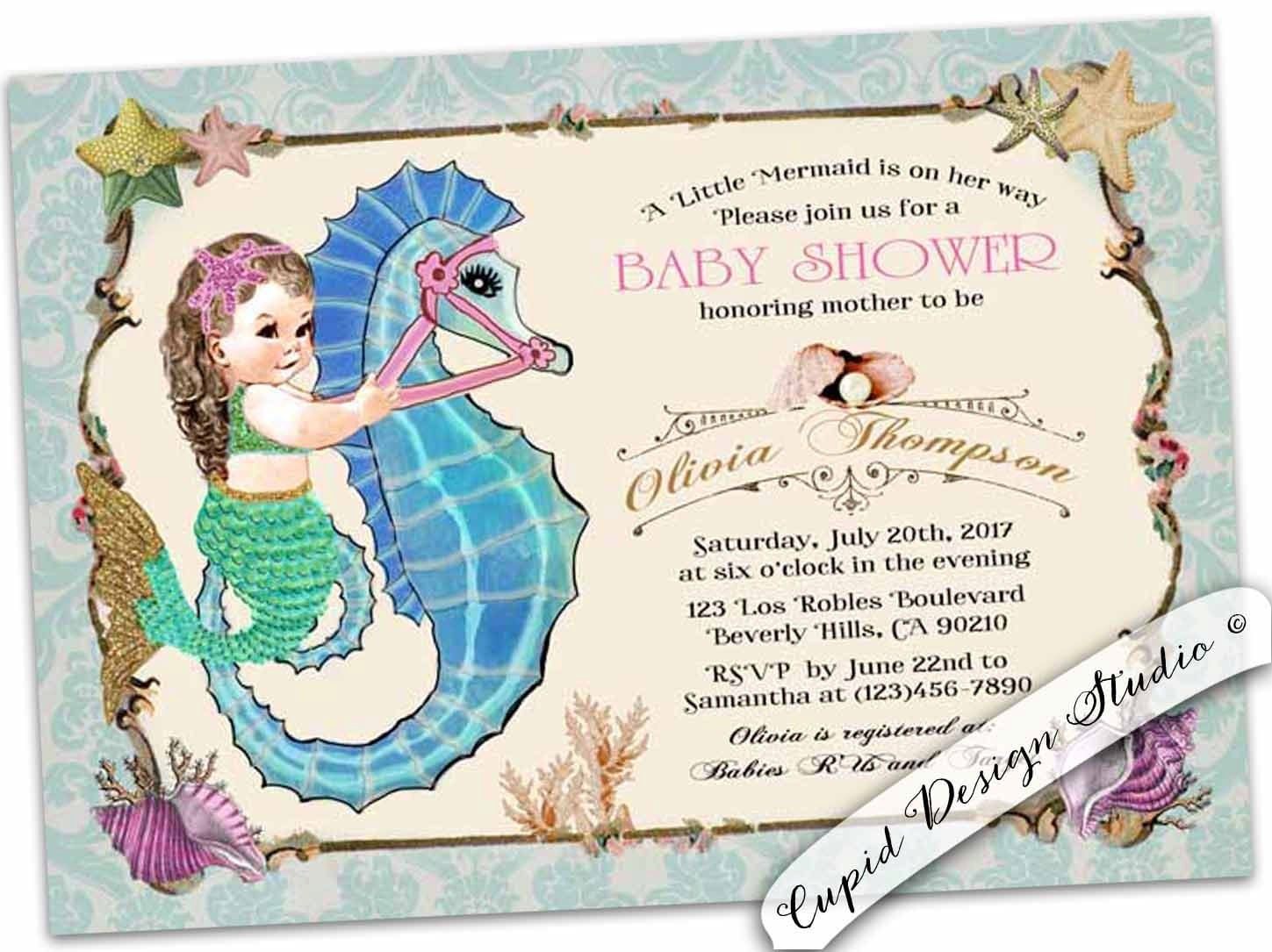 Soft image within printable mermaid baby shower invitations
