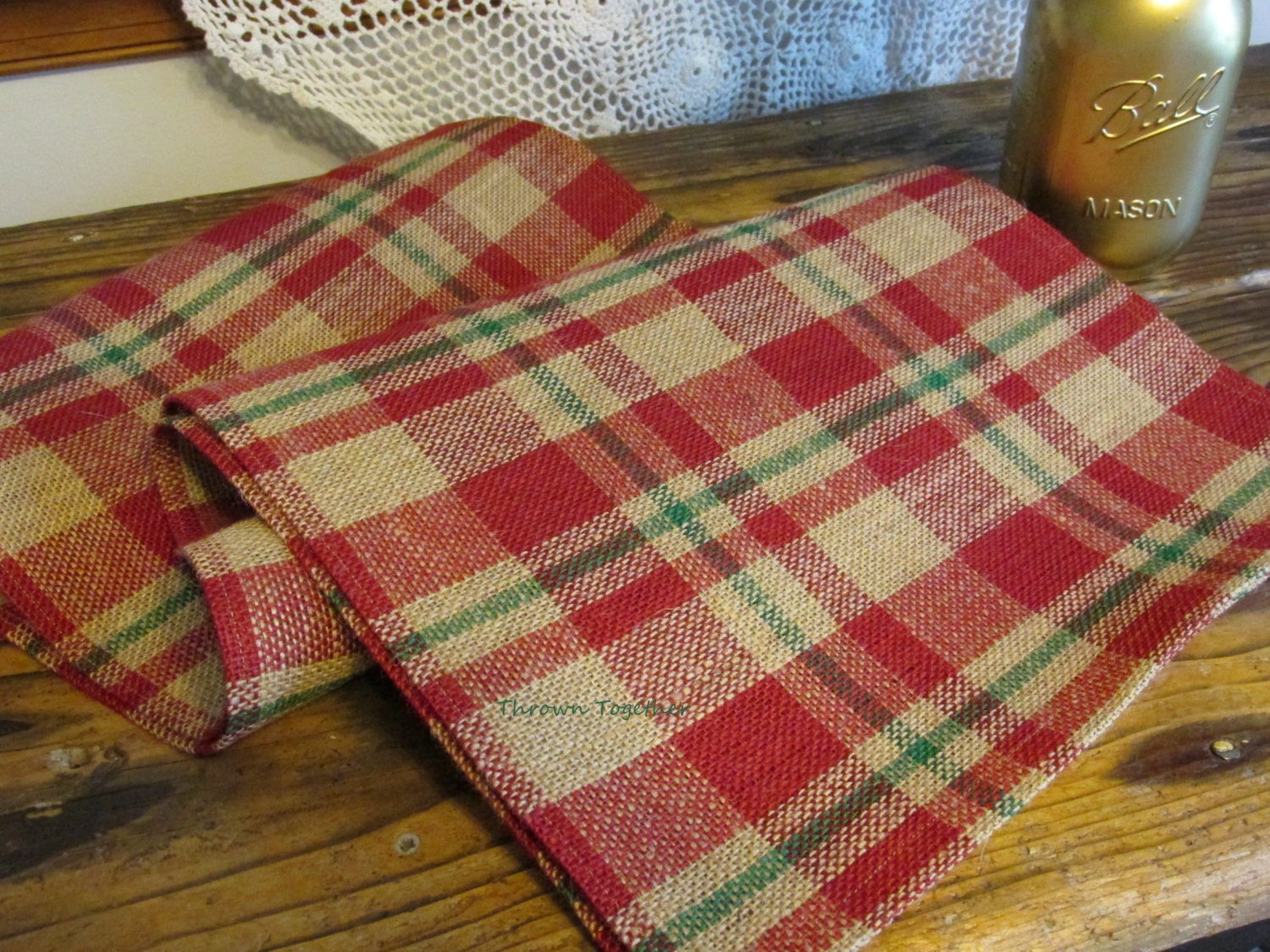 Cranberry Red Amp Green Plaid Table Runner Primitive Plaid