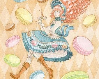 Macaron Lolita Print 4.5x6 8x10 Watercolor Sweet Kawaii Original Art Postcard
