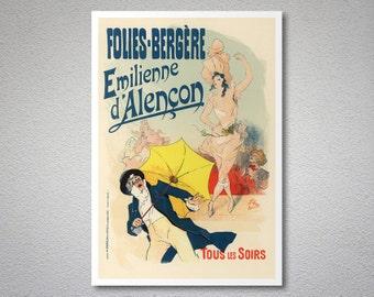 Folies-Bergere Emilienne d'Alençon Entertainment Poster by Jules Cheret - Poster Paper, Sticker or Canvas Print