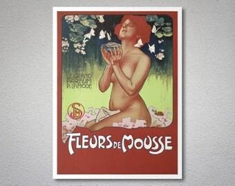 Fleurs de Mousse, Le Grand Parfum a La Mode Vintage Poster by Leopoldo Metlicovitz - Poster Paper, Sticker or Canvas Print